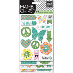 MAMBI Chips Teal and Green Glitter