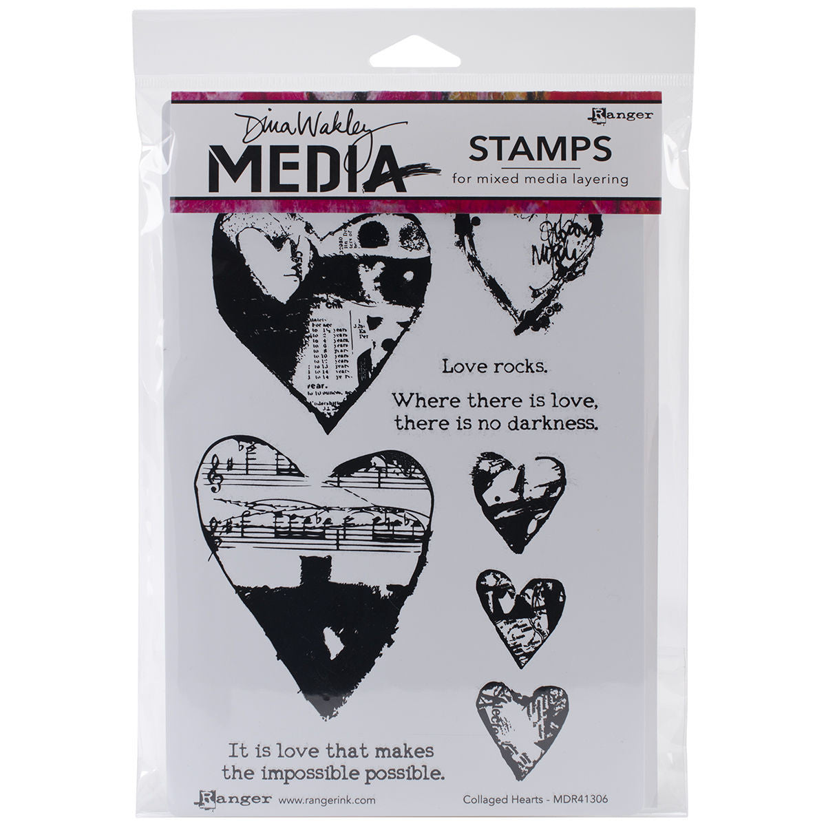 Dina Wakley Media Stamps Collaged Hearts