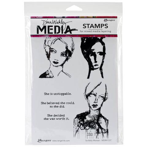 Dina Wakley Media Stamps Scribbly Women