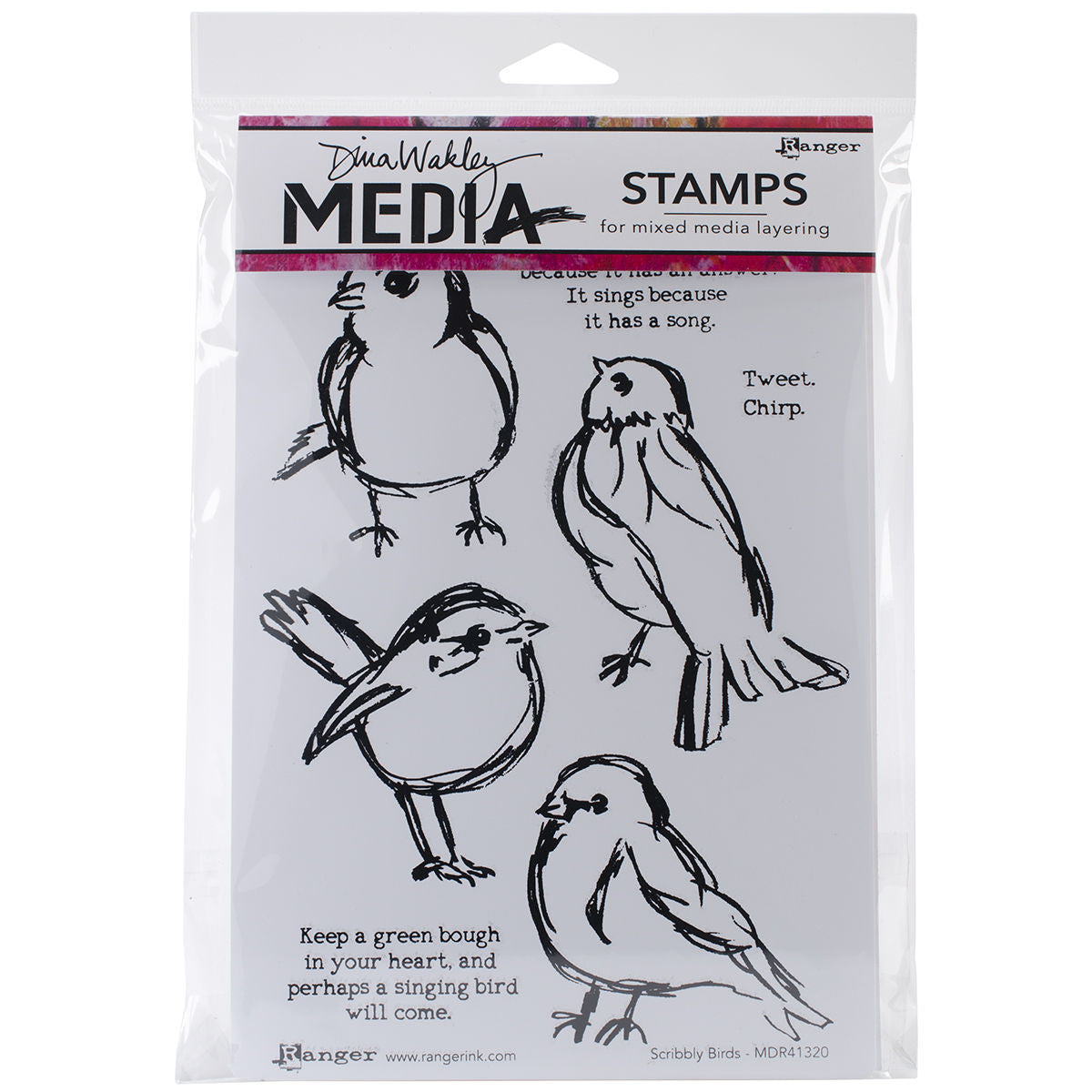 Dina Wakley Media Stamps Scribbly Birds