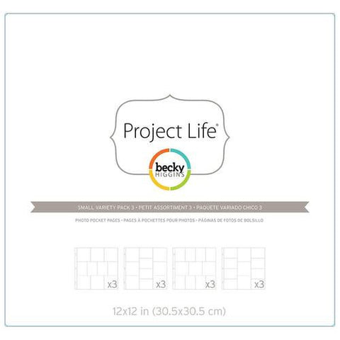 Project Life 12x12 Small Variety Pack 3 Page Protectors 12 Pack