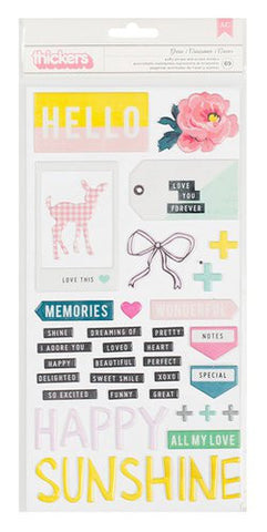 AC Thickers Puffy Phrase & Accent Stickers Grow
