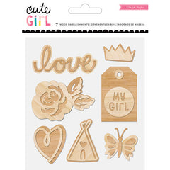 Crate Paper Cute Girl Wood Embellishments