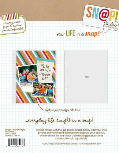 Simple Stories Sn@p 6 x 8 Page Protectors 10 pack