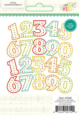 Simple Stories Lets Party Pocket Pieces Numbers