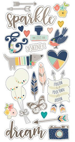 Simple Stories Carpe Diem Chipboard Stickers Posh