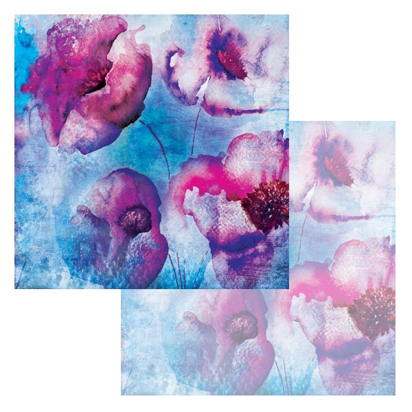 Ken Oliver Watercolor Florals 12x12 Paper - Blue Poppies