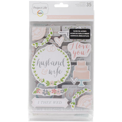 Project Life Chipboard Stickers 35 Pack Southern Weddings
