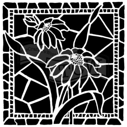 TCW 12x12 Stencil Stained Glass Daisies