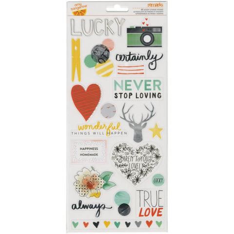 Amy Tangerine Stitched Transparent Stickers Accent & Phrase