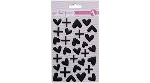 Freckled Fawn Black Puffy Hearts Stickers