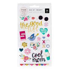 Pink Paislee Oh My Heart Puffy Stickers