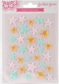 Freckled Fawn Puffy Star Stickers - Gold pink & aqua
