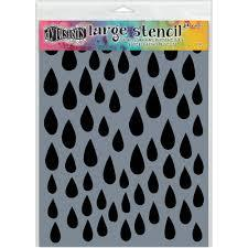 Dylusions Large Stencil 9x12 Raindrops
