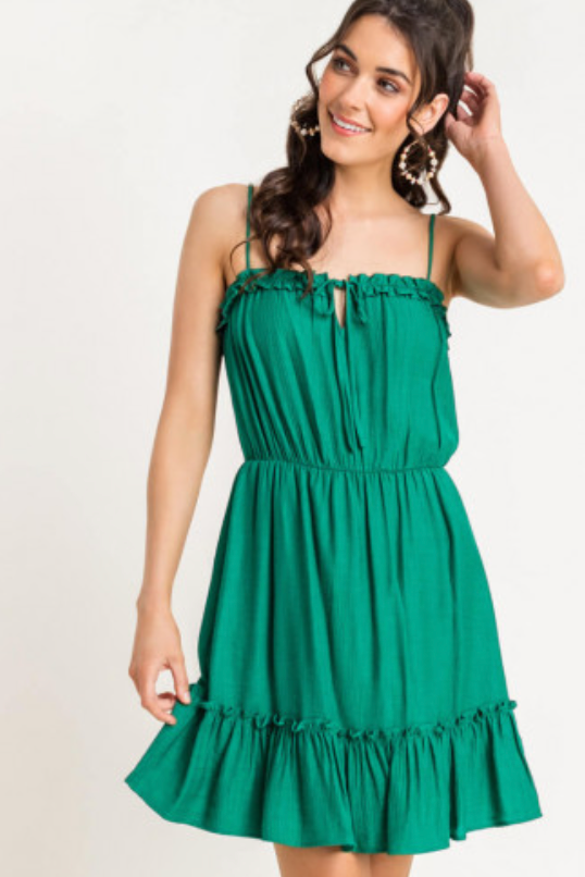 Lush Forest Green Mini Dress