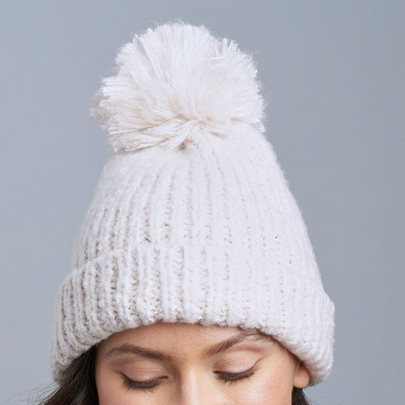 Snow Storm Hat With Pom