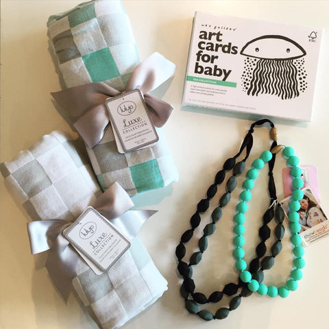 Newborn gift set - Lulujo Swaddles, Chewbeads, Wee Gallery Art Cards