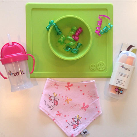 Toddler meal-time gift set! EzPz Fun Mat, Zoli Sippy cup and cutlery, and Bandana bibs!