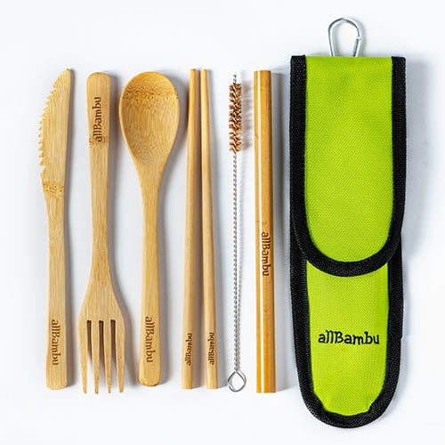 AllBambu Natural Bamboo Cutlery Set