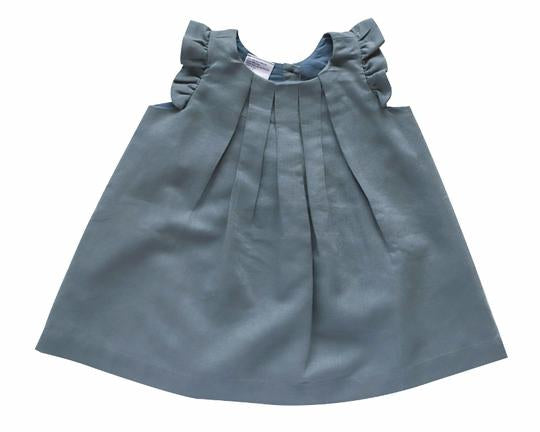 Beba Bean Box Pleat Linen Dress - 6-12 Months