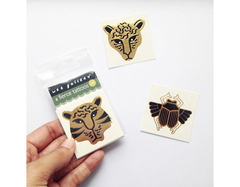 Wee Gallery Fierce Golden Temporary Tattoos