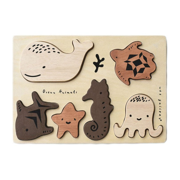 Wee Gallery Wooden Toy Puzzle - Ocean Animals