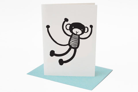 Wee Gallery Monkey Greeting Card with Envelope