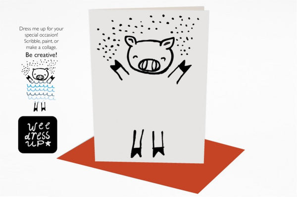 Wee Gallery Dress Up Pig Greeting Card with Envelope