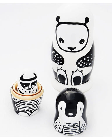 Wee Gallery Nesting Dolls - Black and White Animals