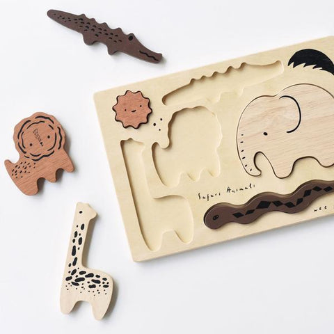 Wee Gallery Wooden Toy Puzzle - Safari Animals