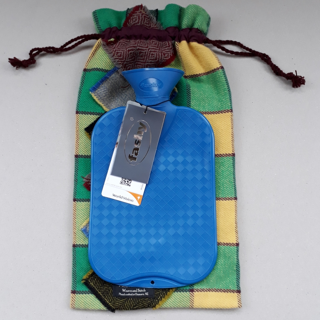 Patchwork hot water bottle cover with Fashy