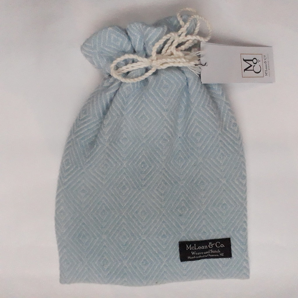 Sky blue diamond twill hot water bottle cover - with small Fashy hot water bottle