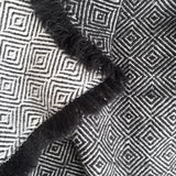 Black and Silver Diamond Twill Throw