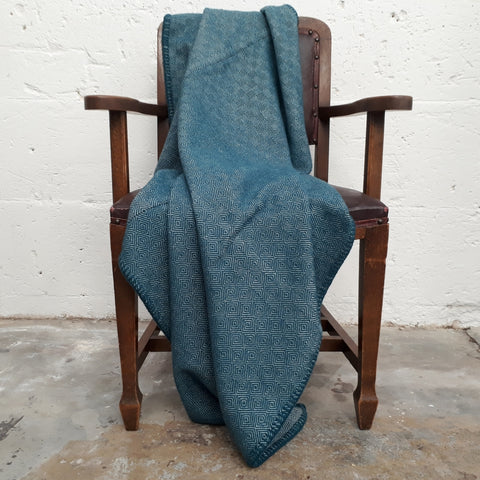 Teal Diamond Twill Throw