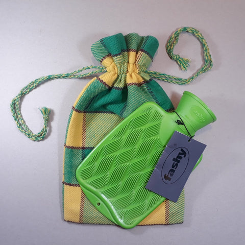 Green and yellow plaid hot water bottle cover - with small Fashy hot water bottle