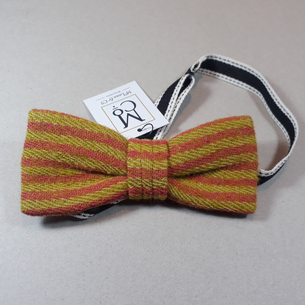Pink and mustard bow tie