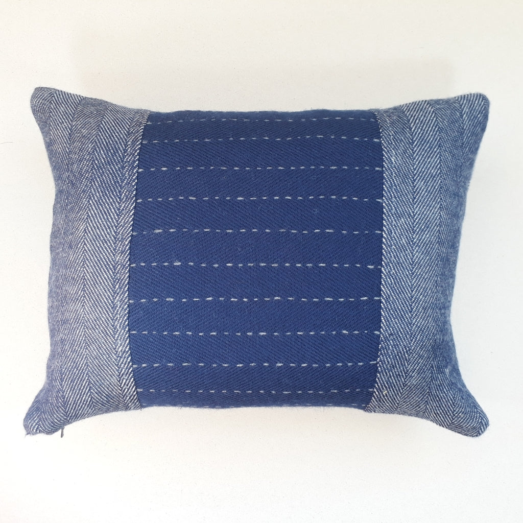 Navy herringbone cushion #1