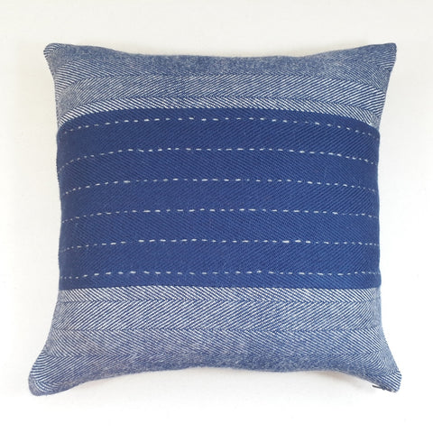 Navy herringbone cushion #3