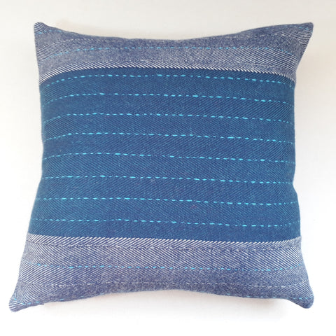 Navy herringbone cushion #4