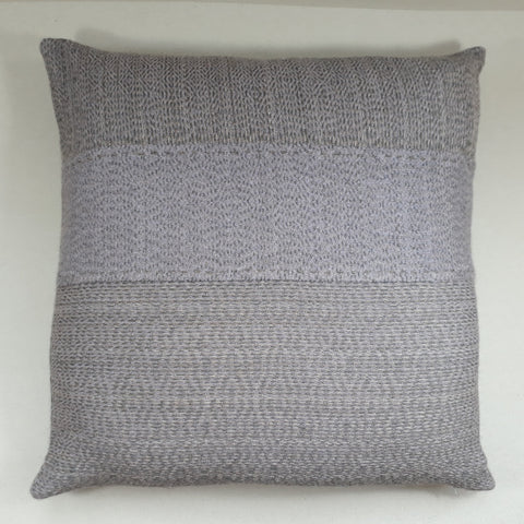 Grey and lilac tweed cushion