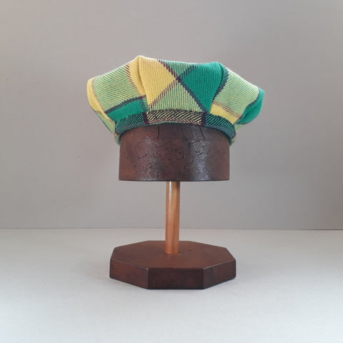 Green and yellow tartan hat