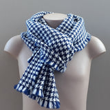 Nith navy and natural white houndstooth scarf