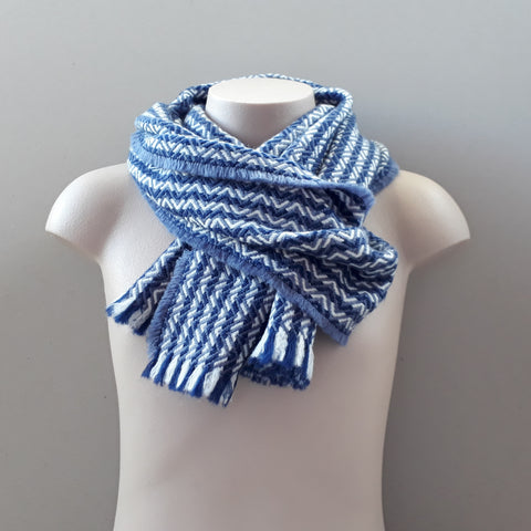 Nith navy and slate blue zigzag scarf
