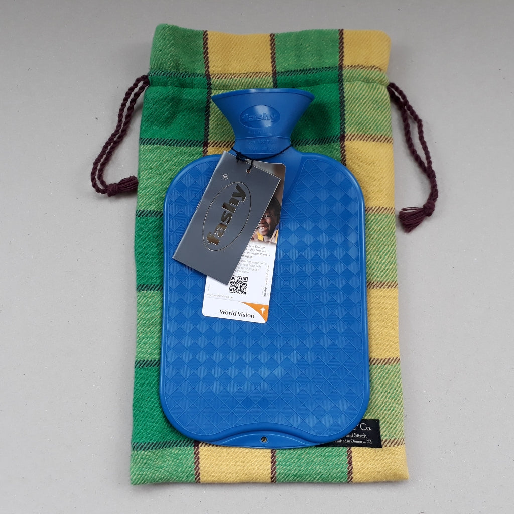 Green and yellow plaid hot water bottle cover - Adult size