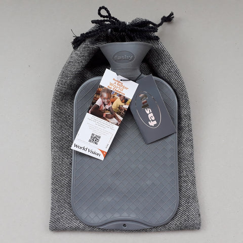 Grey tweed hot water bottle cover with Fashy hottie