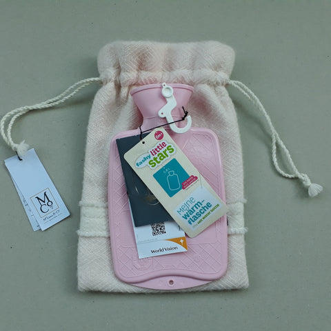 Soft pink diamond twill hot water bottle cover - with small pink Fashy hot water bottle