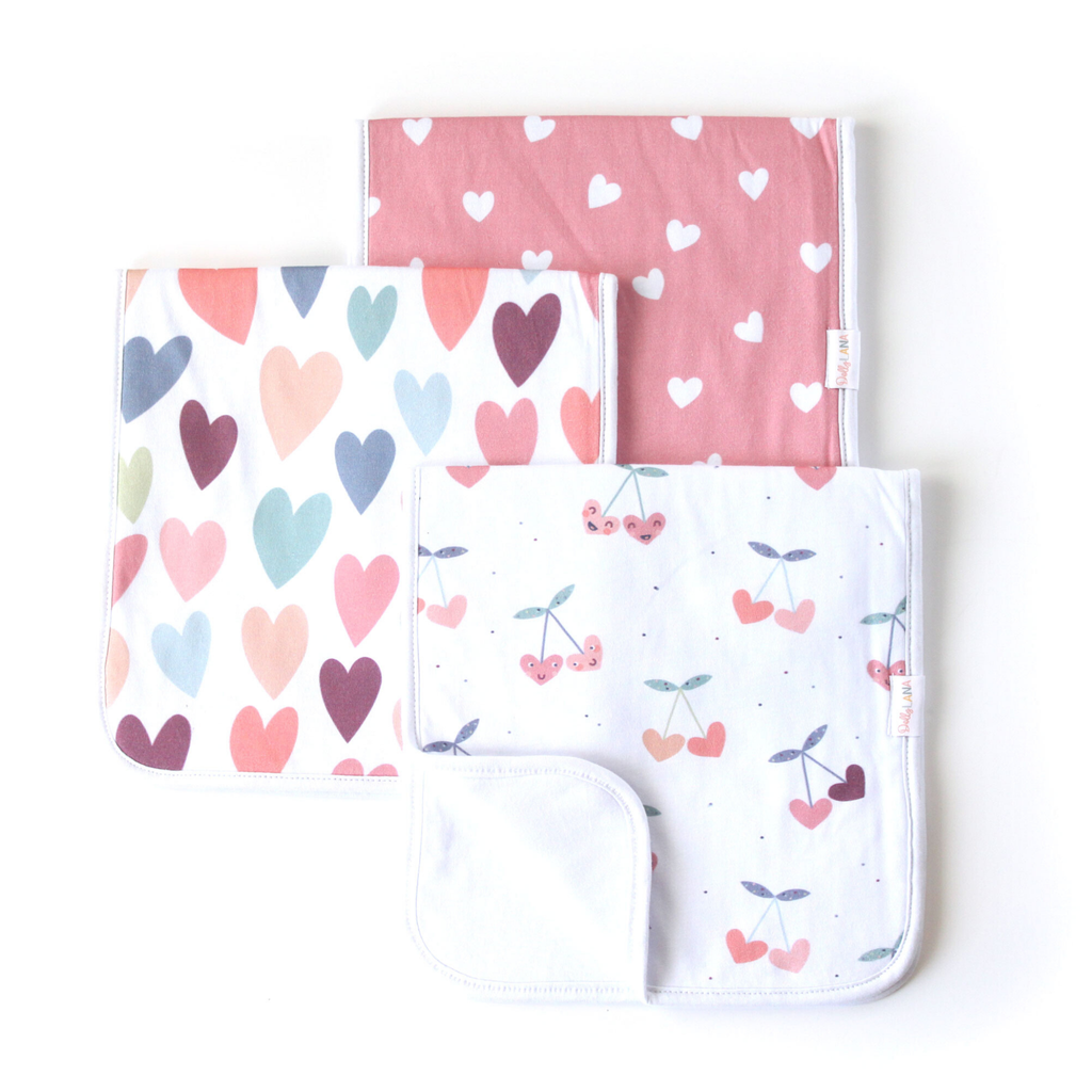 baby burp cloth set, cherry burp cloth, heart burp cloths, 3 pack girl burp cloths