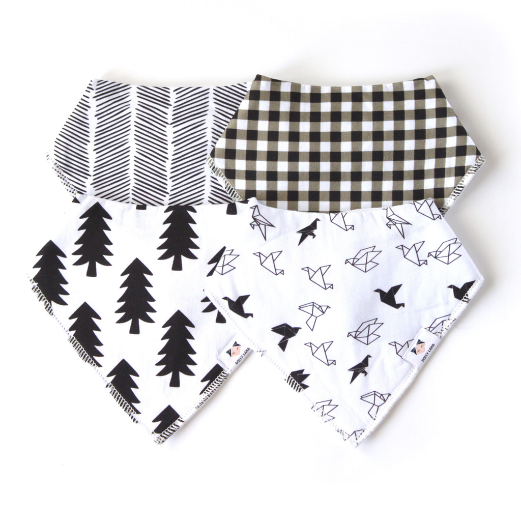 monochrome baby bibs, baby bandanna bibs, bandana bibs boy, black and white bibs, baby shower gift, new baby bibs