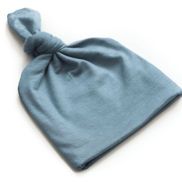 Steel blue baby top knot hat