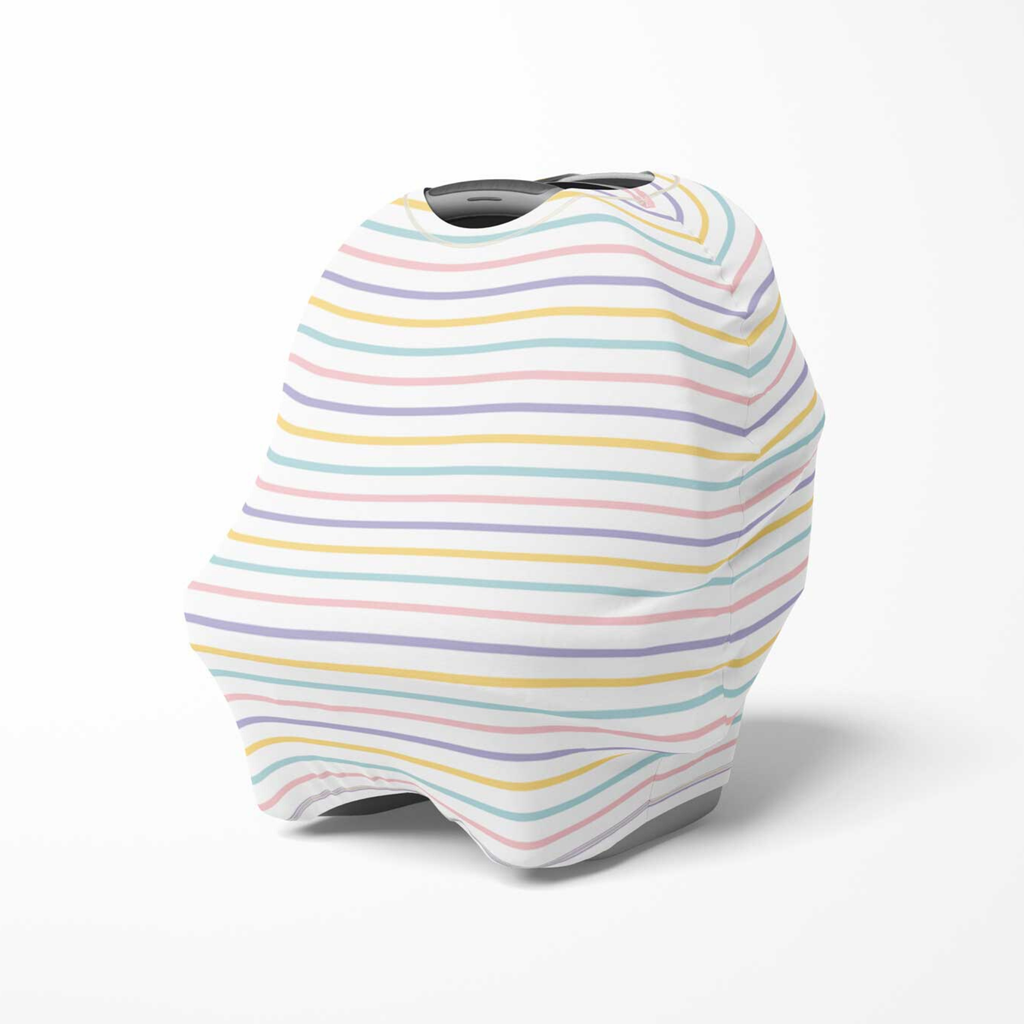 rainbow stripe baby cover, spring baby gift, baby shower gift, striped nursing cover, stroller cover